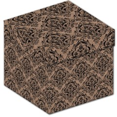 Damask1 Black Marble & Brown Colored Pencil (r) Storage Stool 12  by trendistuff