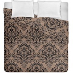Damask1 Black Marble & Brown Colored Pencil (r) Duvet Cover Double Side (king Size) by trendistuff