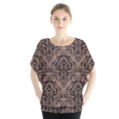 Damask1 Black Marble & Brown Colored Pencil (r) Batwing Chiffon Blouse
