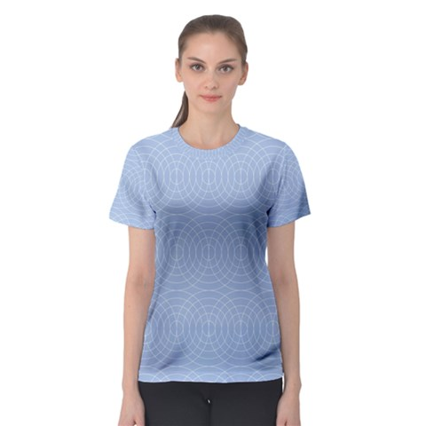 Seamless Lines Concentric Circles Trendy Color Heavenly Light Airy Blue Women s Sport Mesh Tee by Mariart
