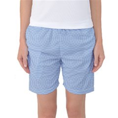 Seamless Lines Concentric Circles Trendy Color Heavenly Light Airy Blue Women s Basketball Shorts by Mariart