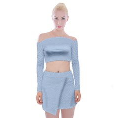 Seamless Lines Concentric Circles Trendy Color Heavenly Light Airy Blue Off Shoulder Top With Skirt Set by Mariart