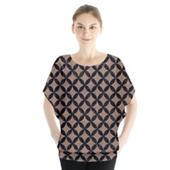 Circles3 Black Marble & Brown Colored Pencil (r) Batwing Chiffon Blouse