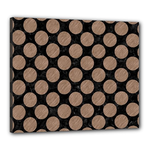 Circles2 Black Marble & Brown Colored Pencil Canvas 24  X 20  (stretched) by trendistuff