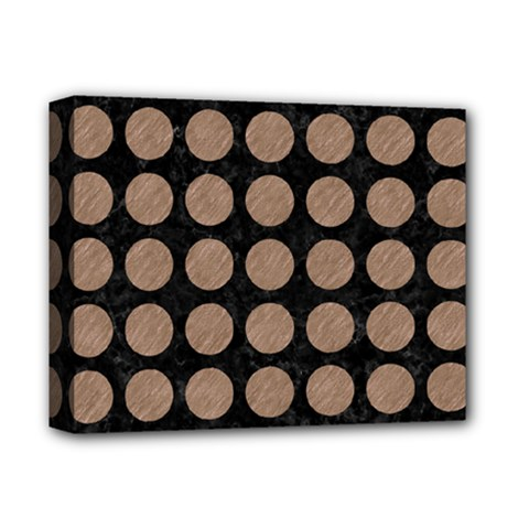 Circles1 Black Marble & Brown Colored Pencil Deluxe Canvas 14  X 11  (stretched) by trendistuff