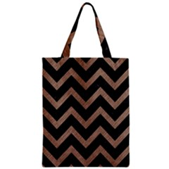 Chevron9 Black Marble & Brown Colored Pencil Zipper Classic Tote Bag by trendistuff