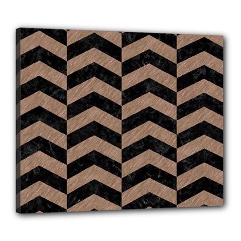 Chevron2 Black Marble & Brown Colored Pencil Canvas 24  X 20  (stretched) by trendistuff
