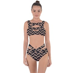 Chevron1 Black Marble & Brown Colored Pencil Bandaged Up Bikini Set
