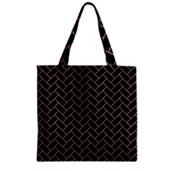 Brick2 Black Marble & Brown Colored Pencil Zipper Grocery Tote Bag by trendistuff
