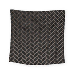Brick2 Black Marble & Brown Colored Pencil Square Tapestry (small) by trendistuff