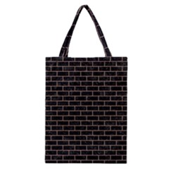 Brick1 Black Marble & Brown Colored Pencil Classic Tote Bag by trendistuff