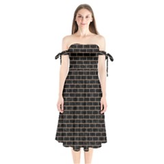 Brick1 Black Marble & Brown Colored Pencil Shoulder Tie Bardot Midi Dress