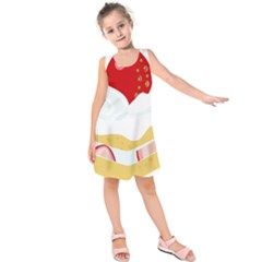 Seeds Strawberry Bread Fruite Red Kids  Sleeveless Dress
