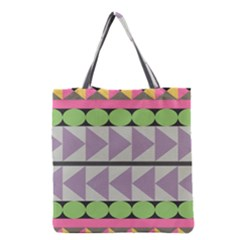 Shapes Patchwork Circle Triangle Grocery Tote Bag by Mariart