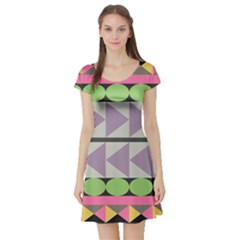 Shapes Patchwork Circle Triangle Short Sleeve Skater Dress by Mariart