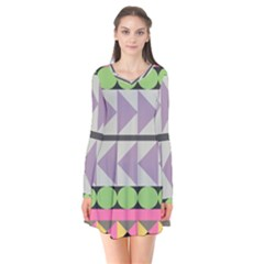Shapes Patchwork Circle Triangle Flare Dress by Mariart