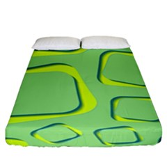 Shapes Green Lime Abstract Wallpaper Fitted Sheet (king Size) by Mariart