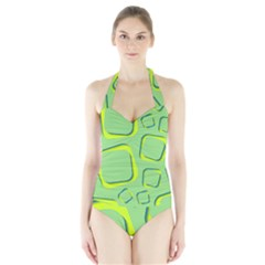 Shapes Green Lime Abstract Wallpaper Halter Swimsuit