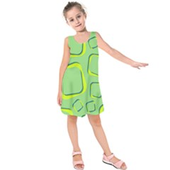 Shapes Green Lime Abstract Wallpaper Kids  Sleeveless Dress by Mariart