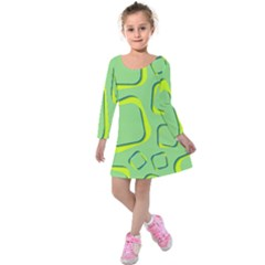 Shapes Green Lime Abstract Wallpaper Kids  Long Sleeve Velvet Dress by Mariart