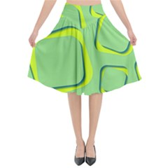 Shapes Green Lime Abstract Wallpaper Flared Midi Skirt by Mariart