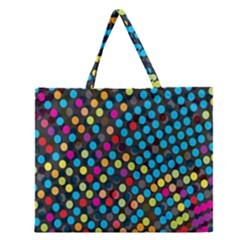 Polkadot Rainbow Colorful Polka Circle Line Light Zipper Large Tote Bag by Mariart