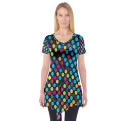 Polkadot Rainbow Colorful Polka Circle Line Light Short Sleeve Tunic