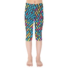 Polkadot Rainbow Colorful Polka Circle Line Light Kids  Capri Leggings  by Mariart