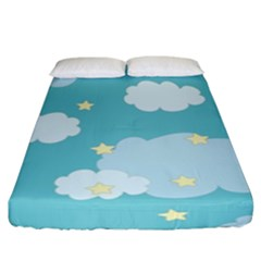 Stellar Cloud Blue Sky Star Fitted Sheet (king Size) by Mariart