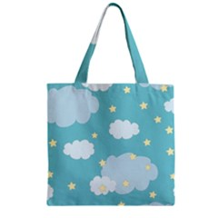Stellar Cloud Blue Sky Star Zipper Grocery Tote Bag