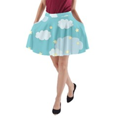Stellar Cloud Blue Sky Star A-line Pocket Skirt