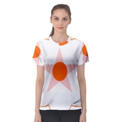 Test Flower Star Circle Orange Women s Sport Mesh Tee