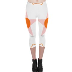 Test Flower Star Circle Orange Capri Leggings  by Mariart
