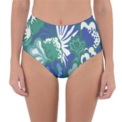 Tropics Leaf Bluegreen Reversible High Waist Bikini Bottoms by Mariart