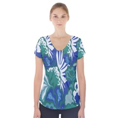Tropics Leaf Bluegreen Short Sleeve Front Detail Top by Mariart