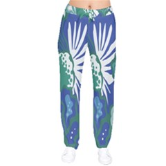 Tropics Leaf Bluegreen Drawstring Pants by Mariart