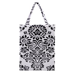 Vintage Damask Black Flower Classic Tote Bag by Mariart