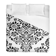 Vintage Damask Black Flower Duvet Cover (full/ Double Size) by Mariart