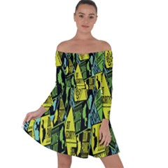 Sign Don t Panic Digital Security Helpline Access Off Shoulder Skater Dress