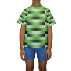 View Original Pinstripes Green Shapes Shades Kids  Short Sleeve Swimwear by Mariart