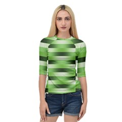 View Original Pinstripes Green Shapes Shades Quarter Sleeve Tee by Mariart