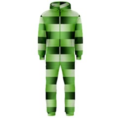 View Original Pinstripes Green Shapes Shades Hooded Jumpsuit (men)  by Mariart