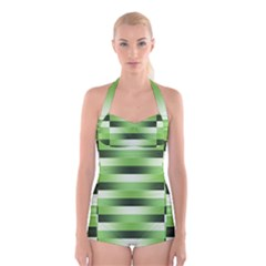 View Original Pinstripes Green Shapes Shades Boyleg Halter Swimsuit  by Mariart