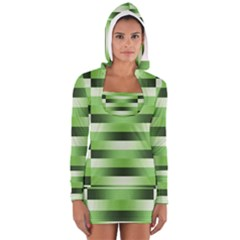 View Original Pinstripes Green Shapes Shades Women s Long Sleeve Hooded T Shirt