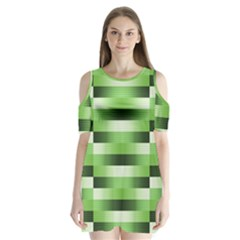 View Original Pinstripes Green Shapes Shades Shoulder Cutout Velvet  One Piece by Mariart