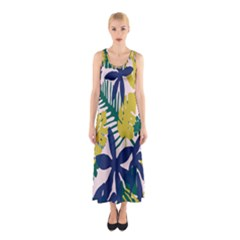 Tropics Leaf Yellow Green Blue Sleeveless Maxi Dress
