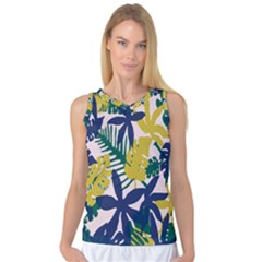 Tropics Leaf Yellow Green Blue Women s Basketball Tank Top by Mariart