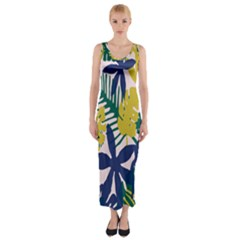 Tropics Leaf Yellow Green Blue Fitted Maxi Dress