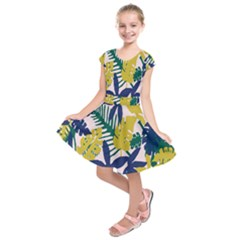 Tropics Leaf Yellow Green Blue Kids  Short Sleeve Dress by Mariart