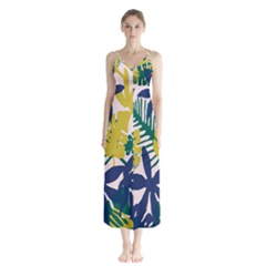 Tropics Leaf Yellow Green Blue Button Up Chiffon Maxi Dress by Mariart